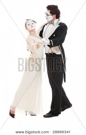 portrait of dancing couple of mimes. isolated on white background
