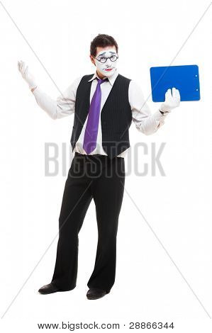 mime businessman with clipboard. isolated on white background