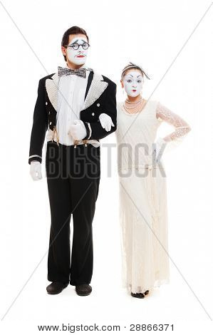 portrait of couple mimes. isolated on white background