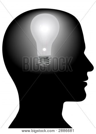 Idea Man Mind Light Bulb In Silhouette Head