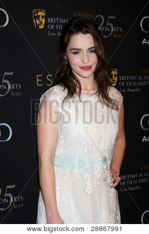LOS ANGELES - JAN 14:  Emilia Clarke arrives at  the BAFTA Award Season Tea Party 2012 at Four Seaons Hotel on January 14, 2012 in Beverly Hills, CA