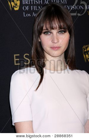 LOS ANGELES - JAN 14:  Felicity Jones arrives at  the BAFTA Award Season Tea Party 2012 at Four Seaons Hotel on January 14, 2012 in Beverly Hills, CA