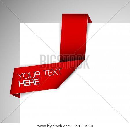 Vector Green Paper origami ribbon / bookmark