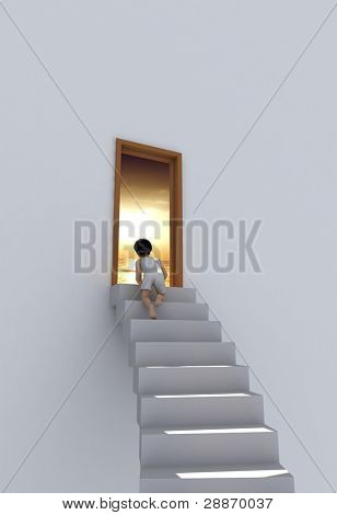 The boy on the stairs near the door.