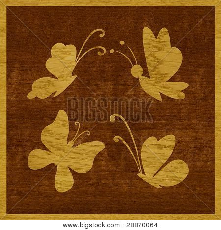 Butterflies of wood veneer