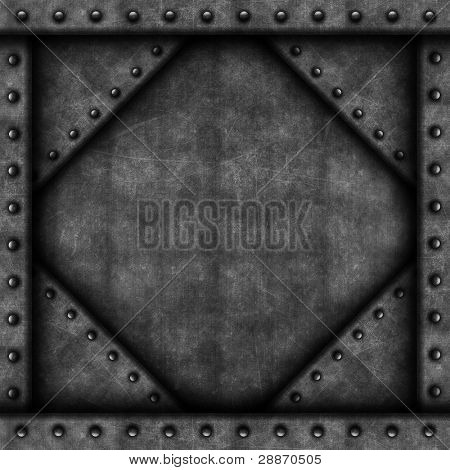 Grunge background with metal texture and rivets