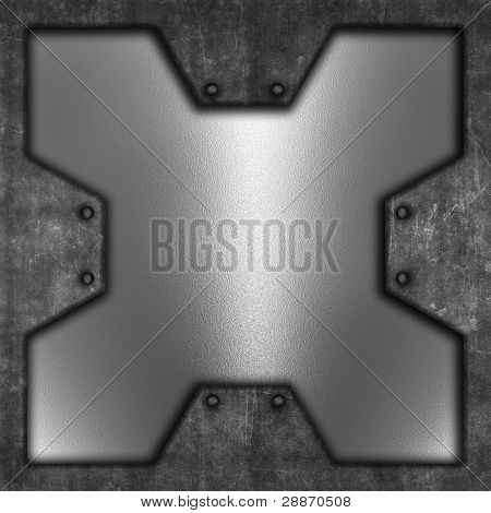 Grunge background with chrome metal texture