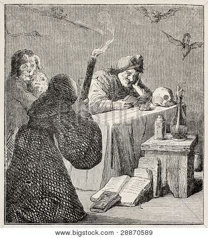 Witch old illustration. After painting of  Teniers (Diabolical reading) kept in Bordeaux museum, published on Merveilles de la Nature, Bailliere et fils, Paris, ca. 1878