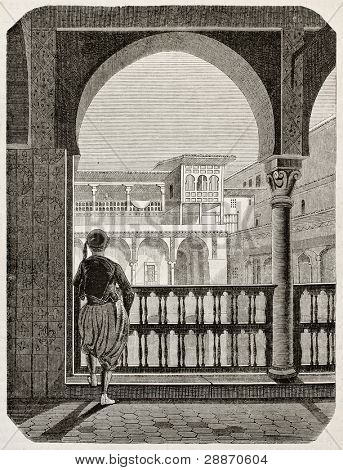 Kasbah of Algiers old view. By unidentified author, published on Magasin Pittoresque, Paris, 1845
