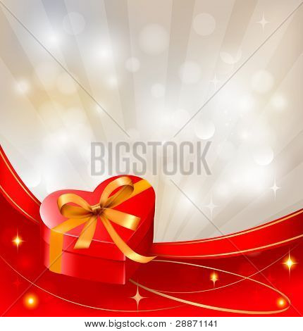 Valentine`s day background with red gift box with bow and ribbons. Vector.