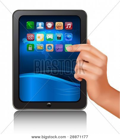 A hand holding digital tablet computer with icons. Vector illustration