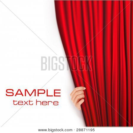 Backgrounds with red velvet curtain. Vector illustration.
