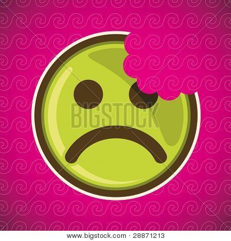 Bitten sad smiley. Vector illustration.