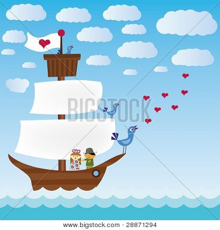 ship with three singing birds in sea and lover pair