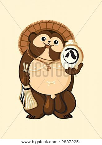 Tanuki (Japanese raccoon dog) with sake bottle and promissory note