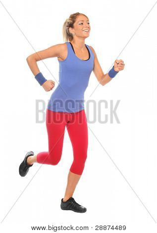 Young woman running on a white background.