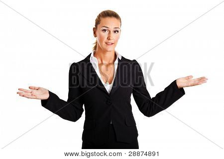 Sorry businesswoman isolated on white