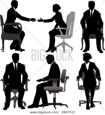 Business Men & Business Women Sit In Office Chairs