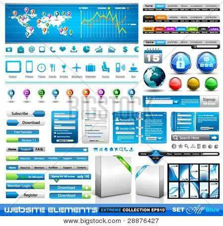 Premium infographics and Web stuff  master collection: graphs, histograms, arrows, chart, 3D globe, icons and a lot of related design elements.