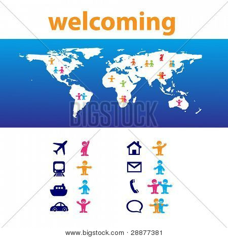 Welcome! Travel around the world. Map and a set of icons. Vector.