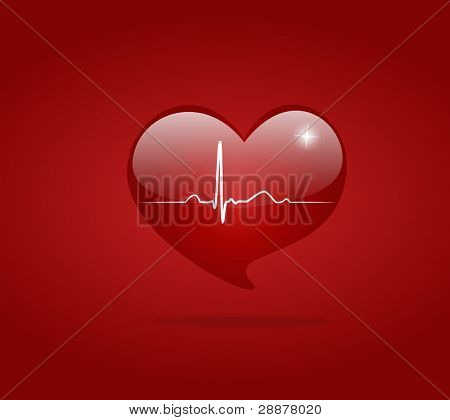 Hearth with EKG signal. Valentine's day. Vector Illustration.