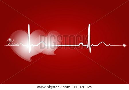 Hearth with ECG signal. Vector Illustration.