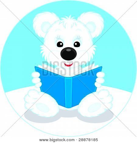 Cachorro de oso polar, leyendo un libro