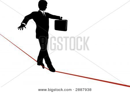 Businessman Walks Tightrope