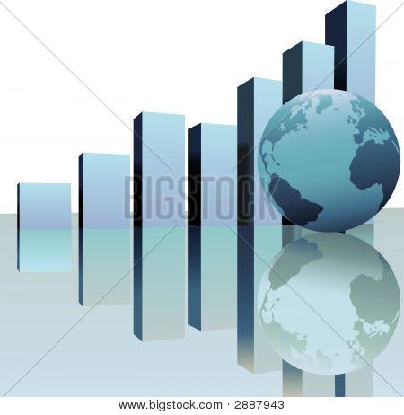 Global Profit Growth Charts With World Globe