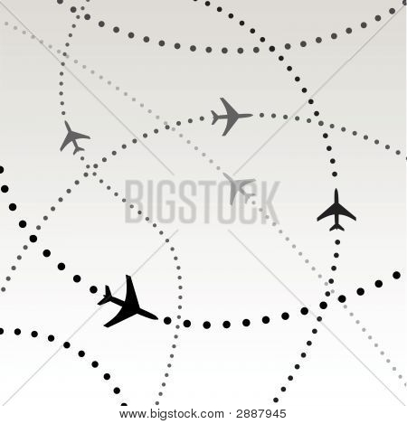 Jet Airplane Flight Path Travel Plans