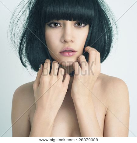 Portrait of elegant lady with stylish short hairstyle