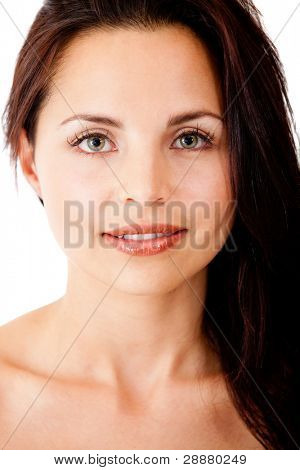 Woman with beautiful flawless skin - isolated over a white background