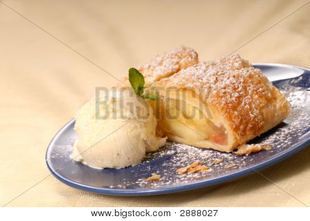Apple Strudel With Vanilla Ice Cream And Mint