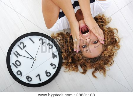 Girl and clock panic