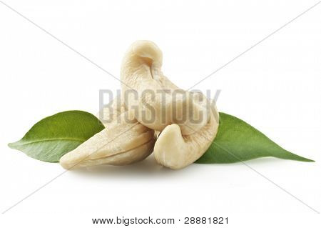 Macro. Cashew nuts on white background