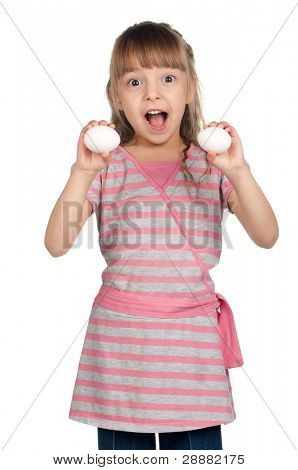 Surprised little girl holding eggs over white background