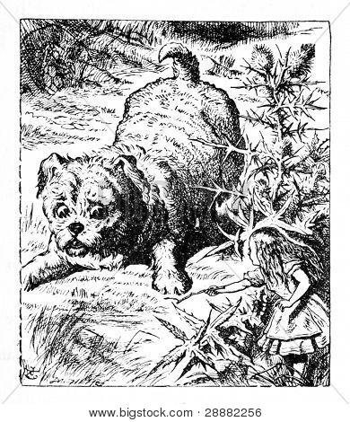 Alice mostrando un palo a un enorme cachorro o perro. Grabado por John Tenniel (Reino Unido, 1872).