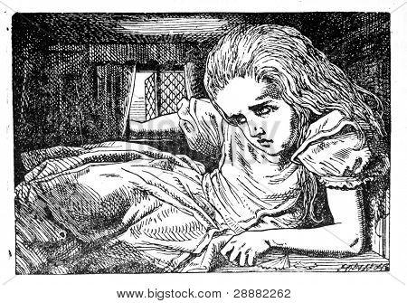 """Alicia crece enorme otra vez. Grabado por John Tenniel (Reino Unido, 1872). Ilustración del libro """""""" A"""