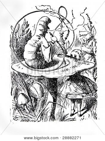 Alice speaking with the smoking caterpilla. Engraving by John Tenniel (United Kingdom, 1872). Illustration from book