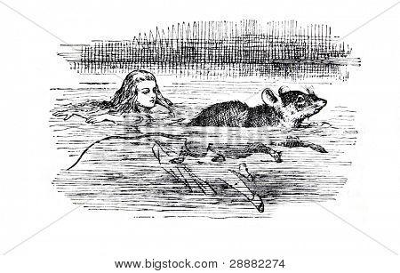 Alice nadando cerca de un ratón. Grabado por John Tenniel (Reino Unido, 1872). Ilustración de boo