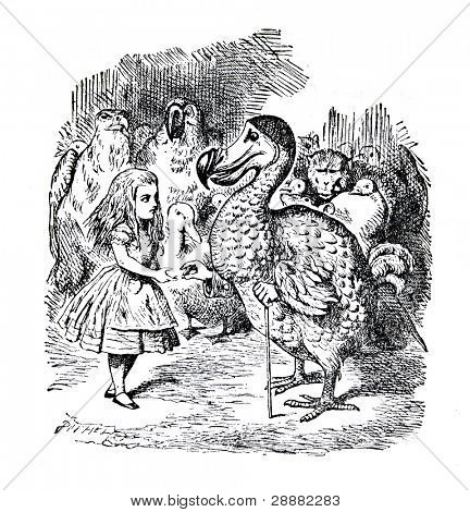 """Alicia y el Dodo. Grabado por John Tenniel (Reino Unido, 1872). Ilustración del libro """""""" Alice"""