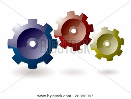 Gear cog concept for icon symbol with shadow