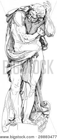 Statue of a man who holds the element on the facade of the building. Black and white illustration. Decorative element of the facade of a historic building in Prague. Czech Republic. Vector sketch
