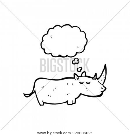 rhino cartoon with thought bubble