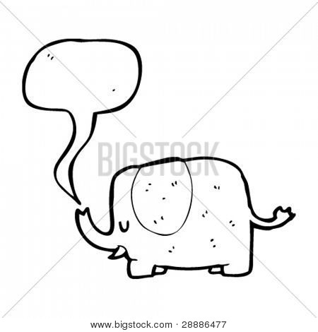 cartoon elephant with speech bubble coming from trunk
