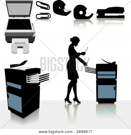 Office Business Copiers Woman