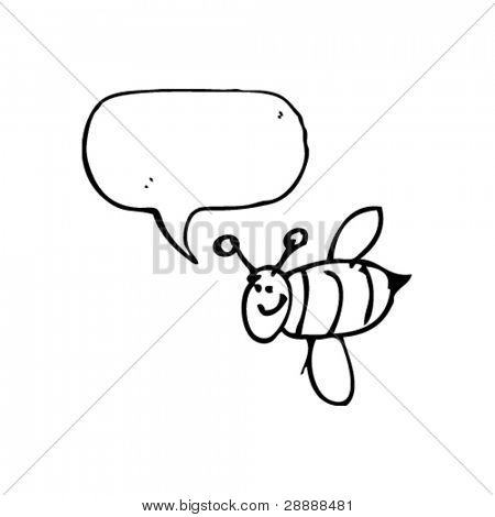 authentic looking child's drawing of a happy bee