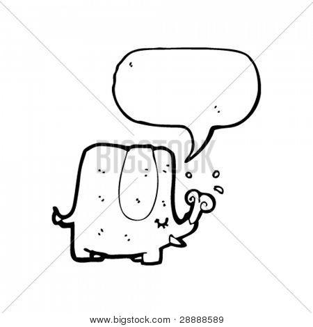elephant with speech bubble cartoon