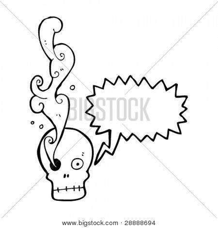 smoking eye skull cartoon