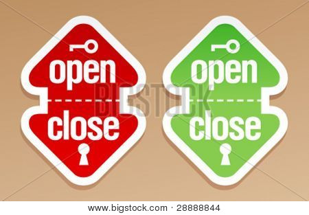 Abrir y cerrar el embalaje signos.